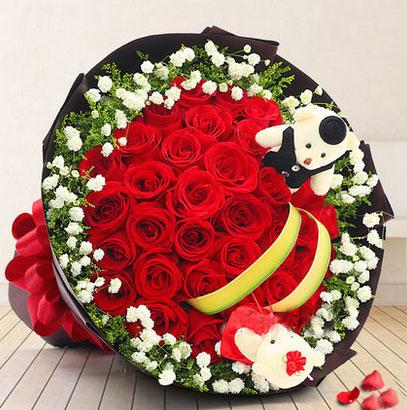 圣诞节33朵红玫瑰花2只小熊西安花店送花