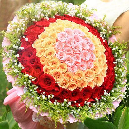圣诞节99朵混色心形玫瑰花送花