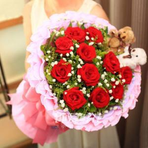 11朵红玫瑰2只小熊西安鲜花速递