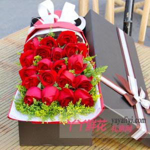燃烧的爱 - 19朵红玫瑰咖色礼盒节日送花