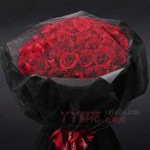 52朵黑纱红玫瑰鲜花预定