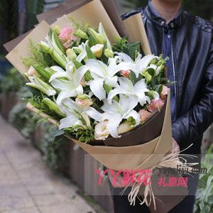 真挚的爱 - 18朵白百合生日鲜花