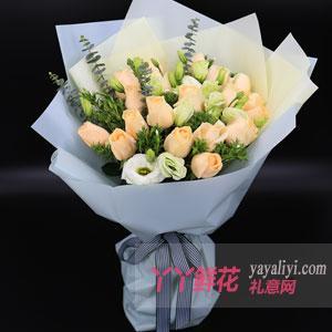 鲜花速递19朵香槟玫瑰花