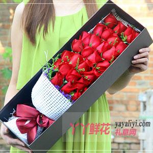 倾世之恋 - 33朵红玫瑰黄莺搭配咖色礼盒