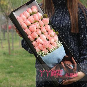 33朵粉玫瑰满天星礼盒