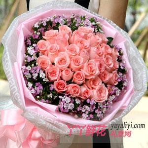 33朵粉玫瑰相思梅点缀