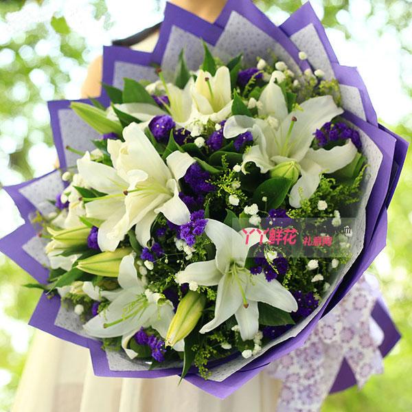 鲜花6朵白色多头百合(似水柔情)