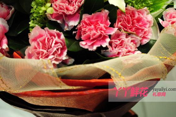20枝粉色康乃馨包装细节图