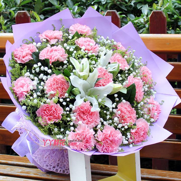 19朵粉康乃馨1支多头百合(祝福)预定