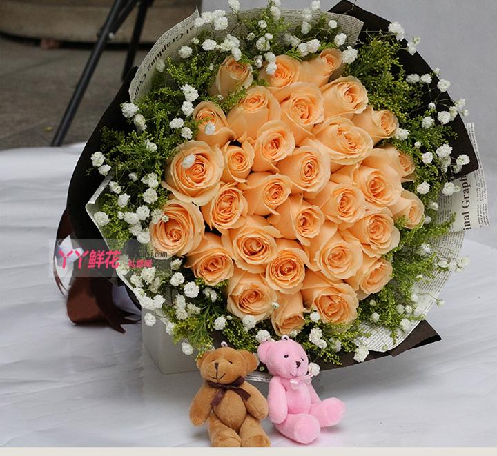 33朵香槟玫瑰2只小熊(爱的守候)