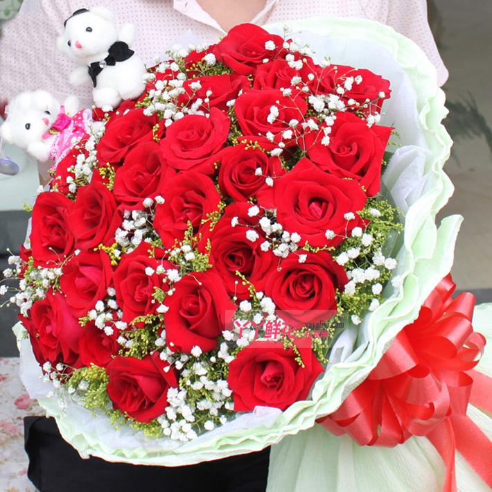 鲜花19朵红玫瑰2只公仔(幸福的心声)