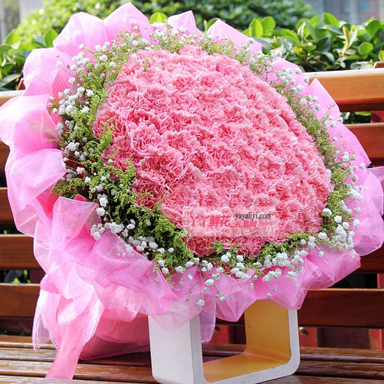 99朵粉色康乃馨(今生有爱)鲜花效果图