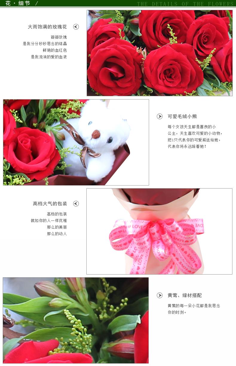 11朵红玫瑰1只小熊细节图