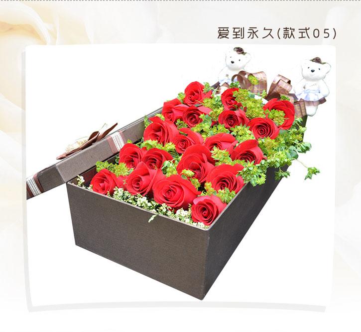 鲜花礼盒19朵红玫瑰2只小熊