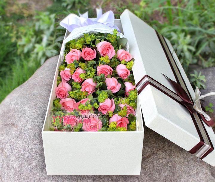19朵粉玫瑰浅色礼盒(温柔)