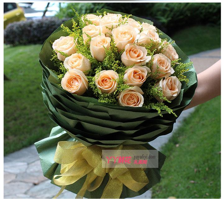 老婆生日送花19枝香槟玫瑰(爱到永久)大图细节