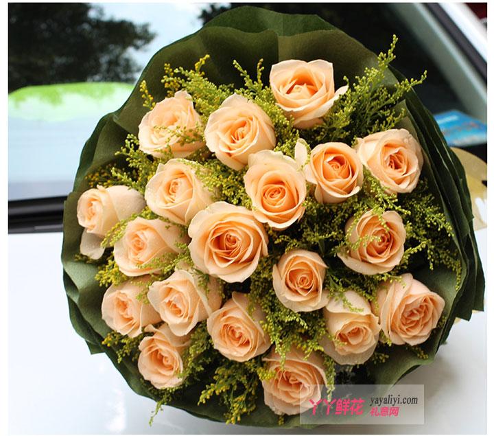 老婆生日送花19枝香槟玫瑰(爱到永久)细节图