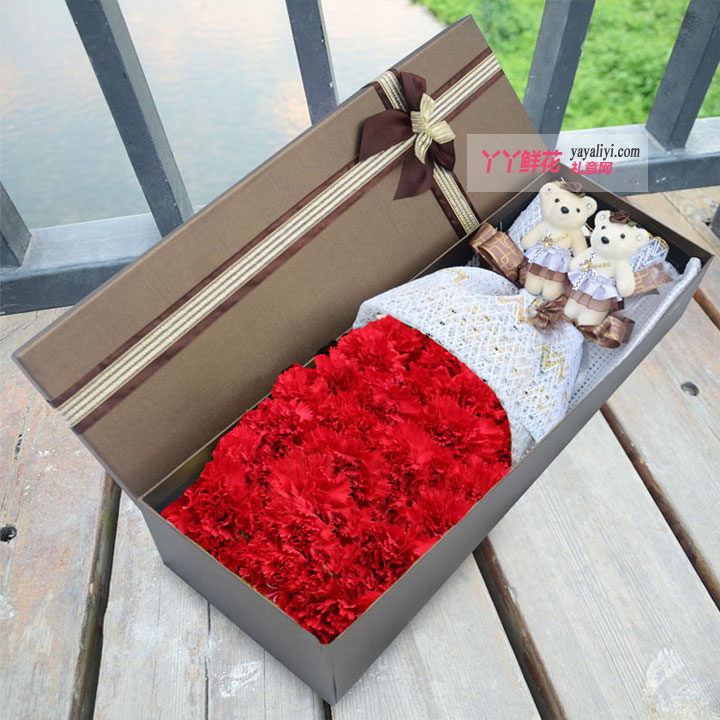 21朵红色康乃馨礼盒2只小熊(幸福温暖)
