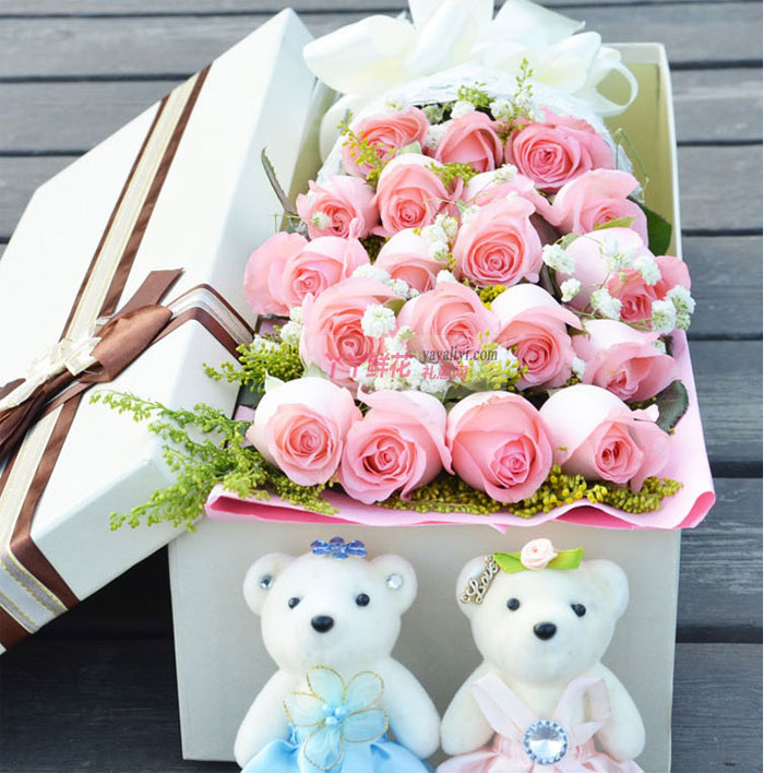 网上花店19朵粉玫瑰2小熊礼盒(爱情信使)