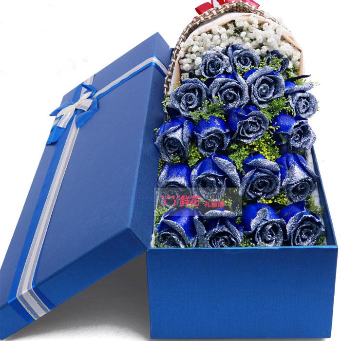 鲜花店19朵蓝色玫瑰礼盒(蓝色情缘)