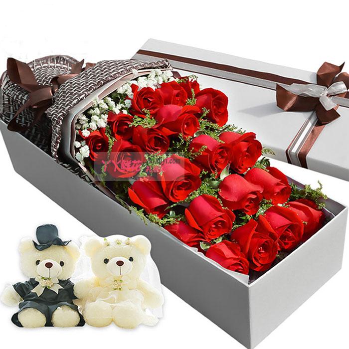 鲜花速递21枝红玫瑰2小熊礼盒(缘定三生)