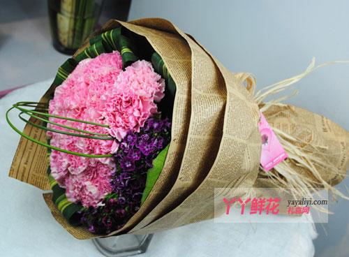 36枝粉色康乃馨侧面图