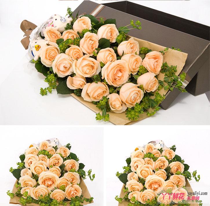 19朵香槟玫瑰2只小熊鲜花礼盒细节图