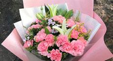 母亲节鲜花19枝粉色康乃馨4枝百合(母爱无边)